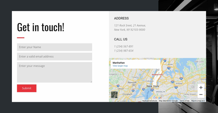 Contact options Website Mockup
