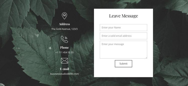 Leave message Joomla Page Builder