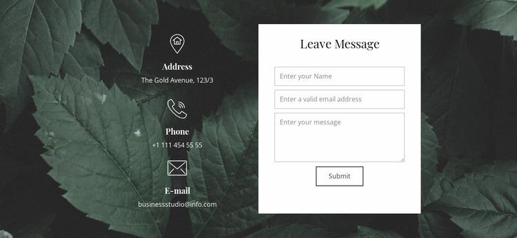 Leave message Website Mockup
