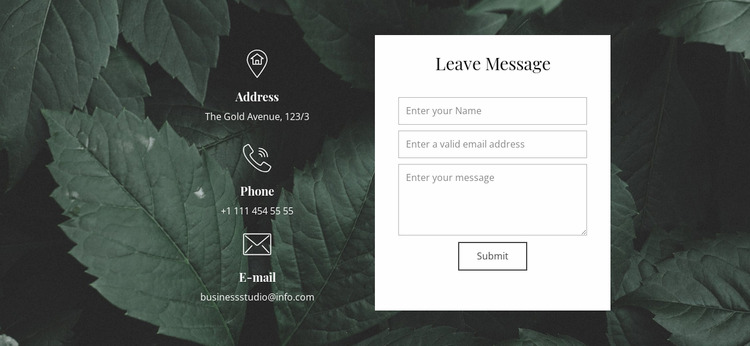 Leave message WordPress Website Builder