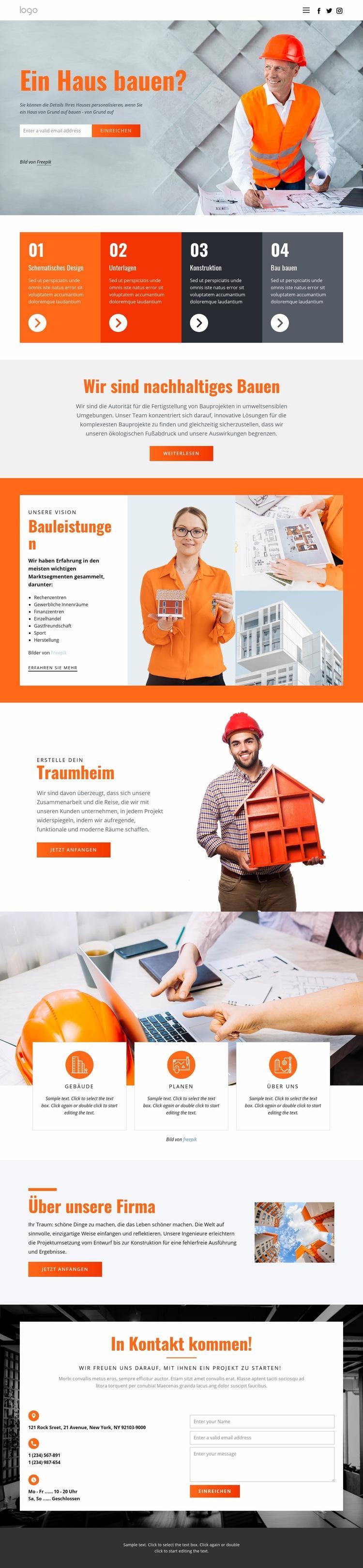 Innovative Hausarchitektur Website-Vorlage