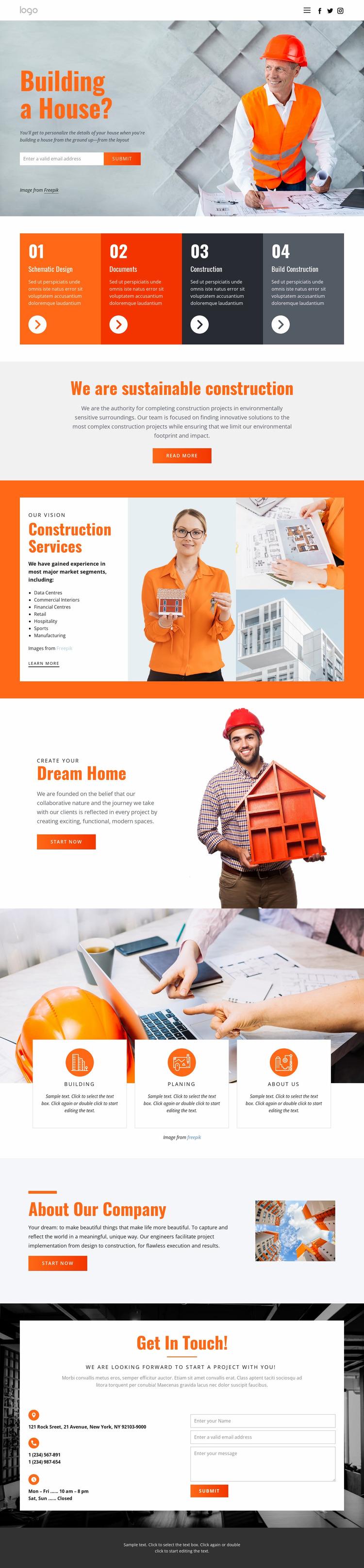 Innovative house architecture Website Mockup