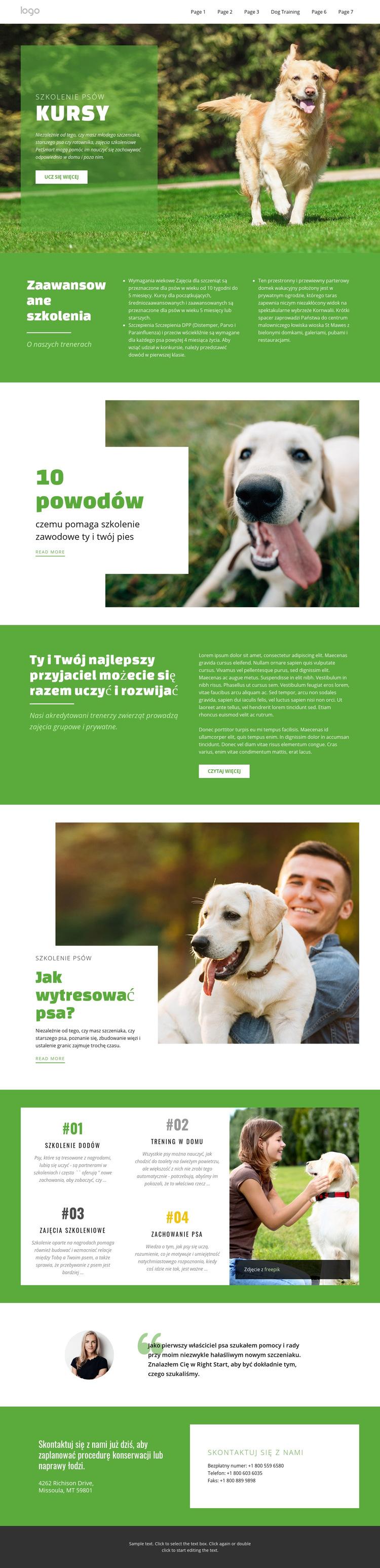 Kursy szkoleniowe dla zwierząt domowych Szablon witryny sieci Web