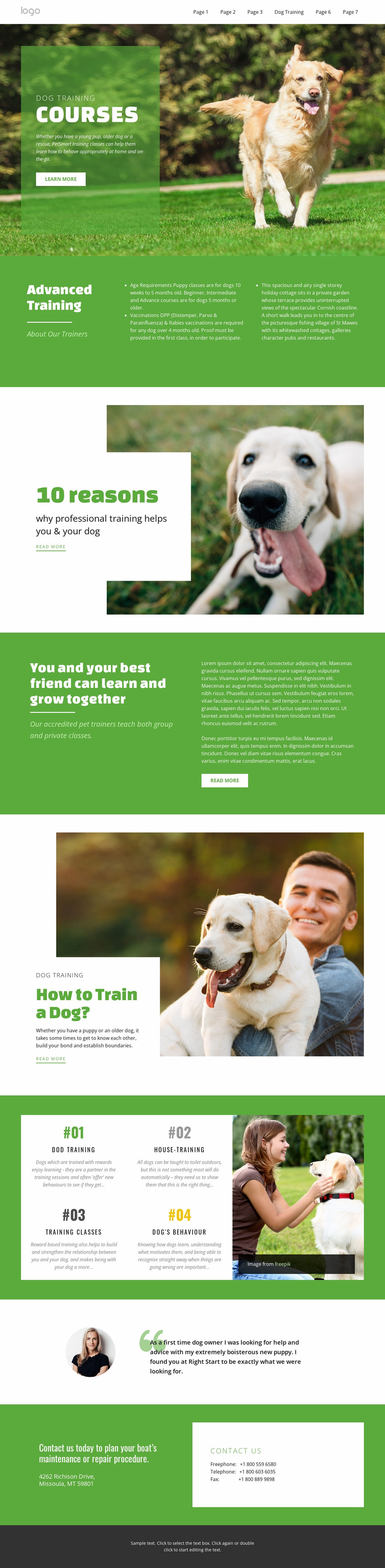 Training courses for pets Landing Page