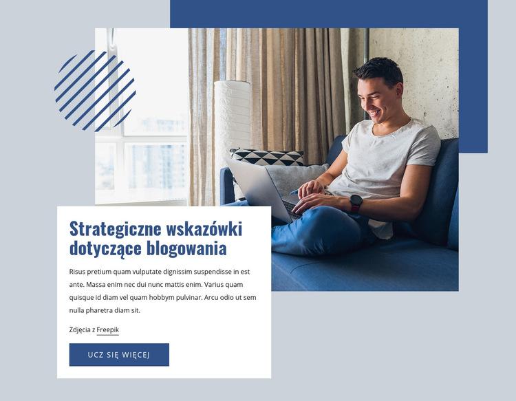 Wskazówki dotyczące strategii blogowania Szablon witryny sieci Web