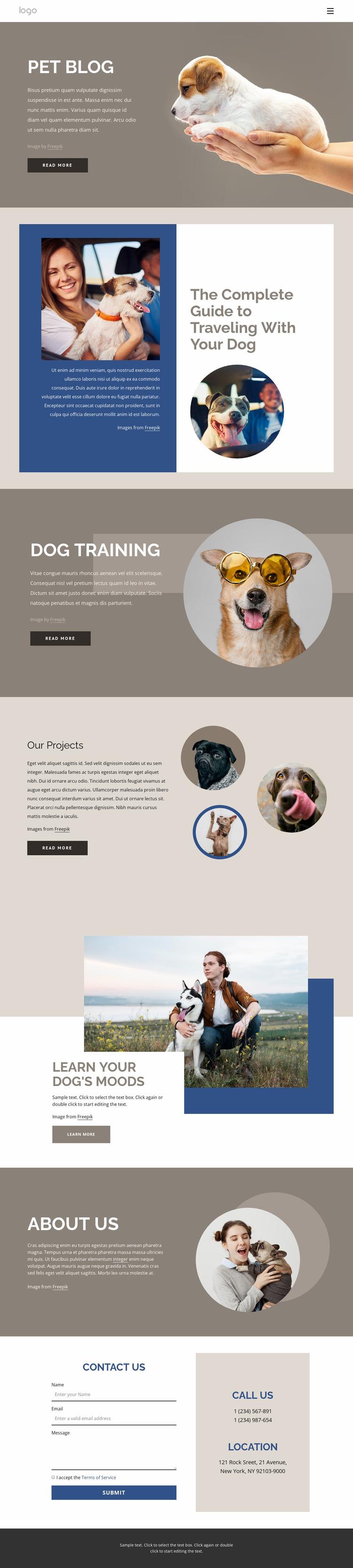 Pet Blog Website Template
