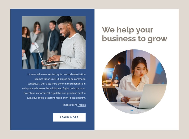 Helping businesses grow Html Code Example