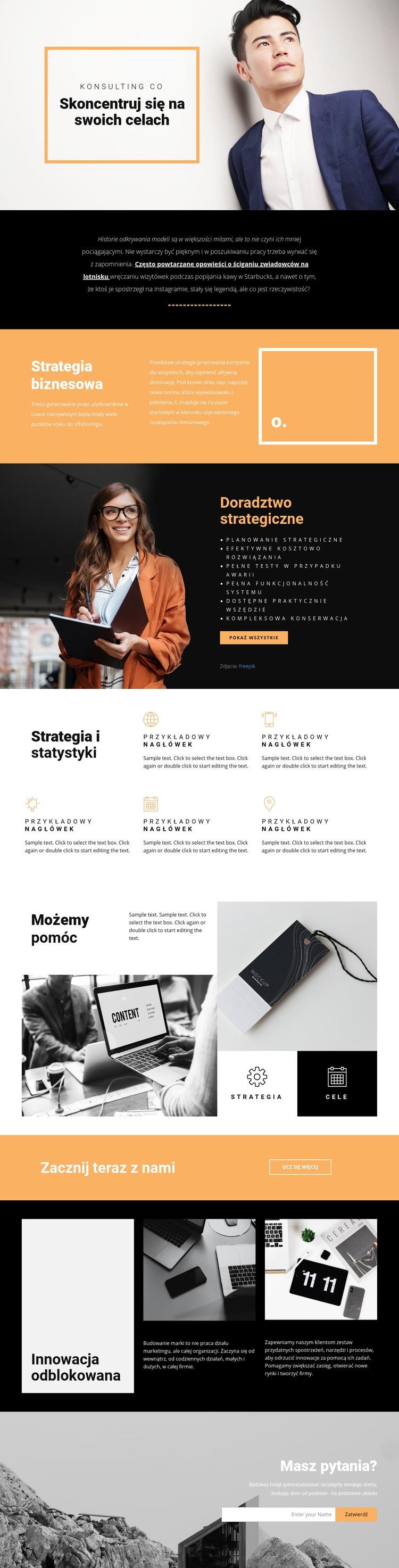 Cele nowoczesnego biznesu Szablon witryny sieci Web