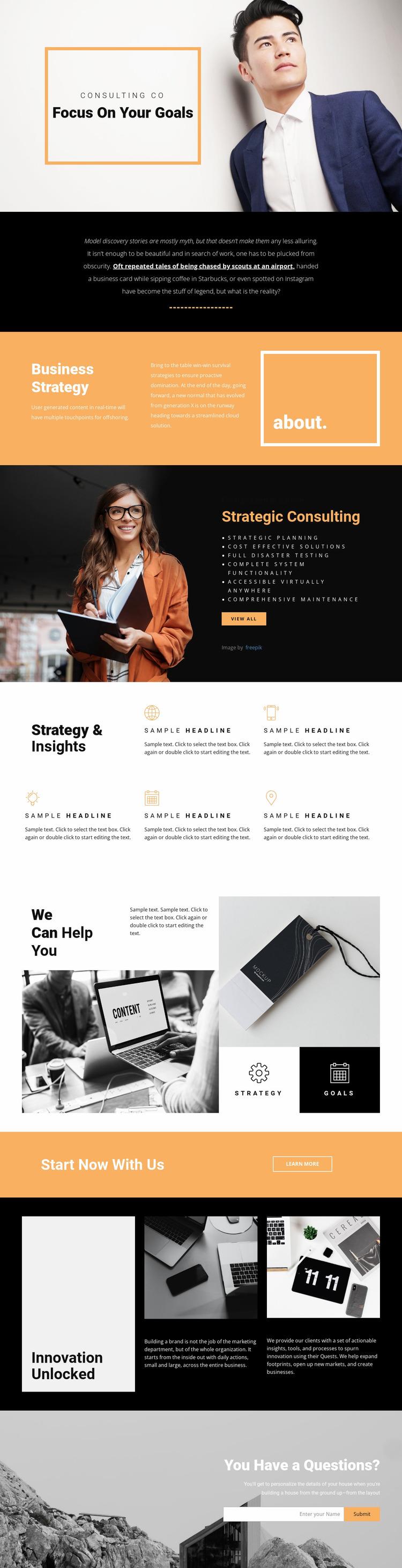 Goals for modern business  Website Mockup