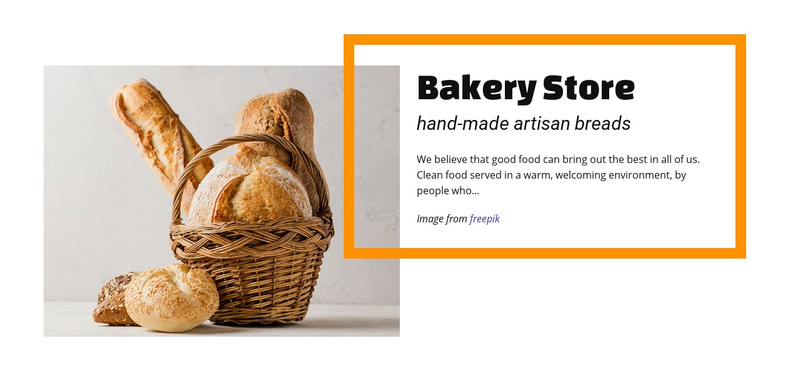 Bakery food store Web Page Design