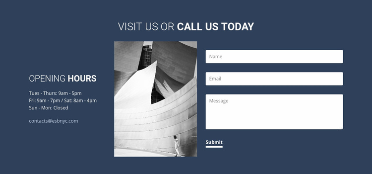 Visit us or call today Website Template
