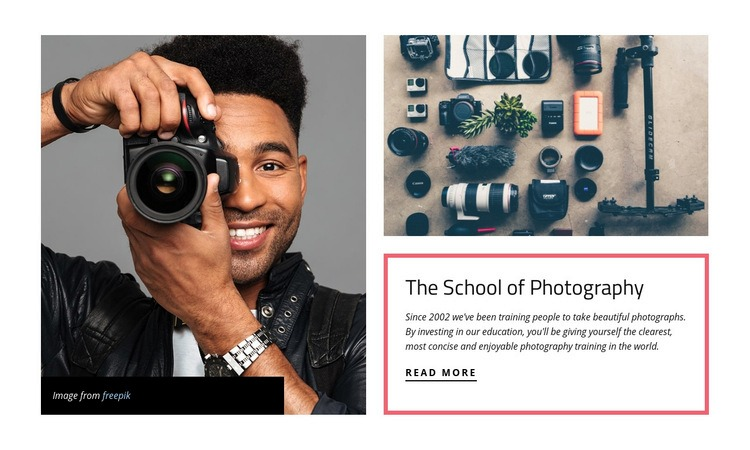 The school of photography Html Code Example