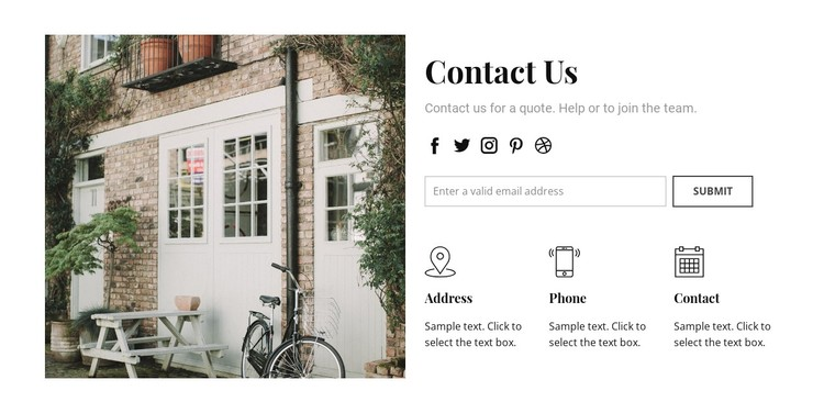 Contact information WordPress Template