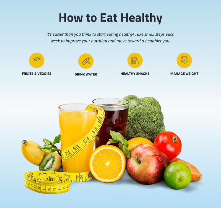Emphasizes fruits, vegetables, whole grains Website Template