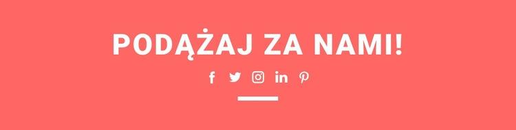 Znajdź nas w mediach społecznościowych Szablon witryny sieci Web