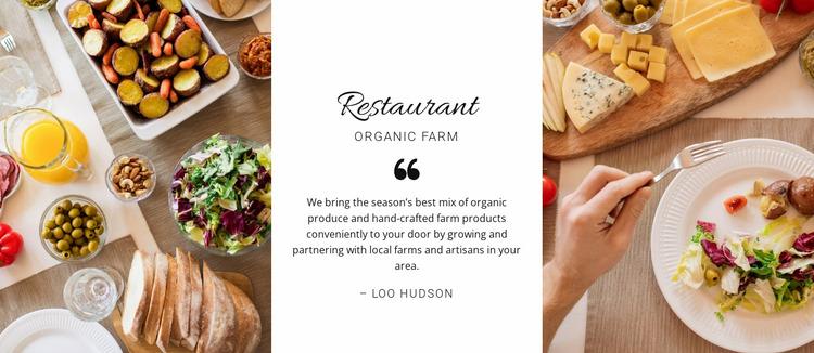 Restaurant healthy menu Website Mockup