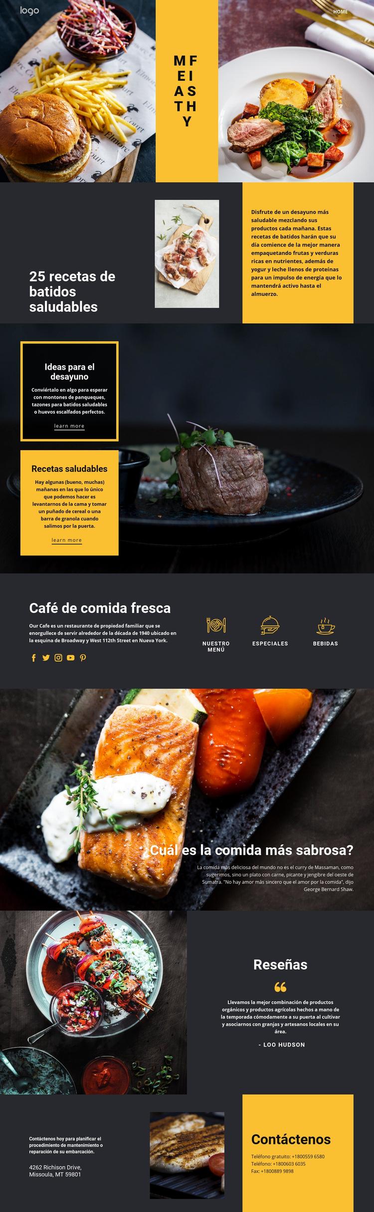 Buenas recetas para una buena comida Plantilla de sitio web