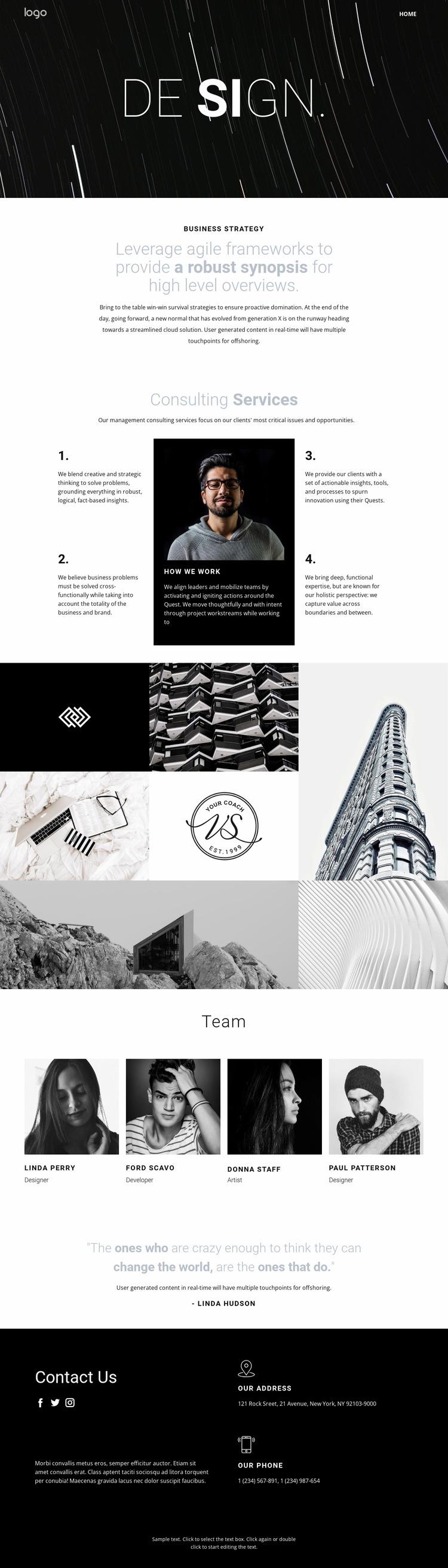Design and creative art  Html Website Builder