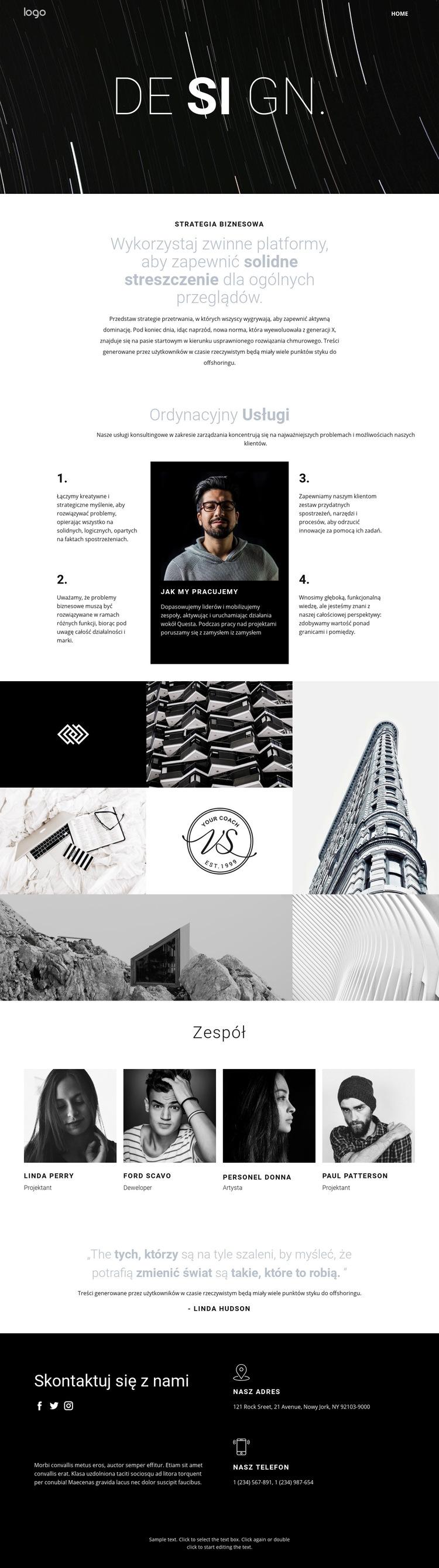 Projekt i sztuka kreatywna Szablon witryny sieci Web