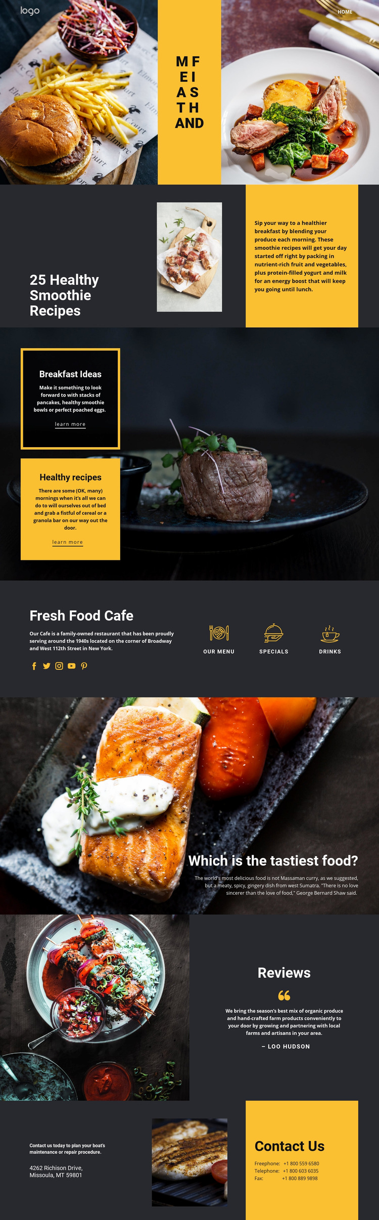 Good recipes for good food Web Page Design
