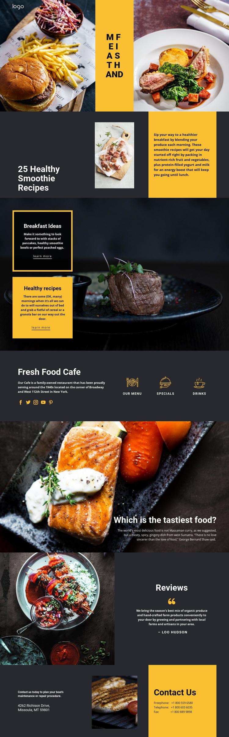 Good recipes for good food Website Mockup