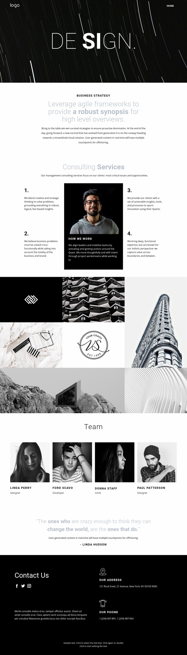 Design and creative art  Landing Page
