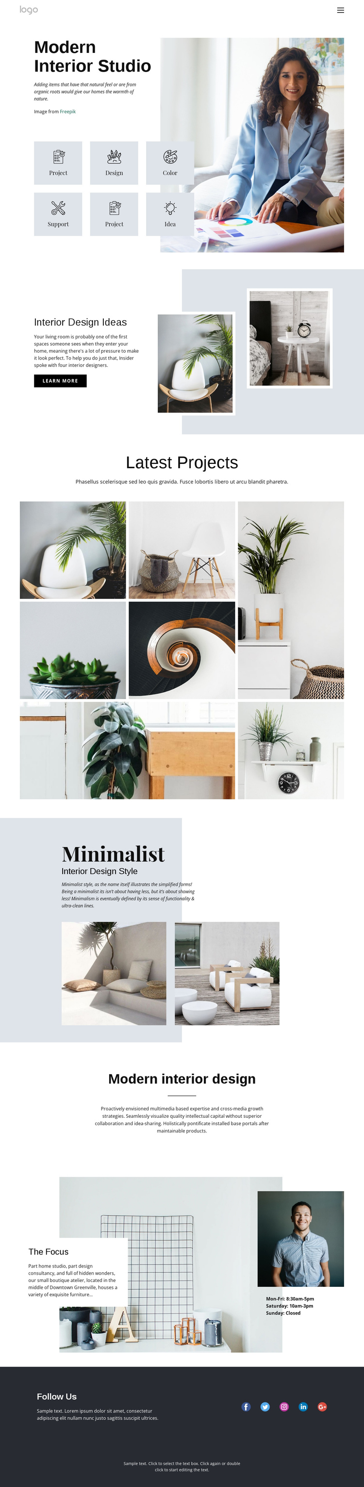 Kitchens, baths and closets One Page Template