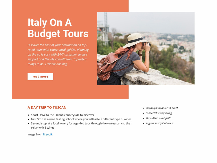 Italy budget tours Website Template
