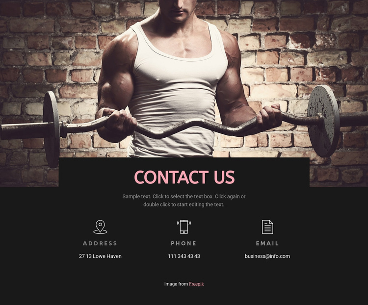 Sport club contacts Website Template