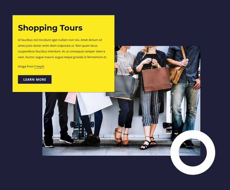 Shopping tours Website Mockup
