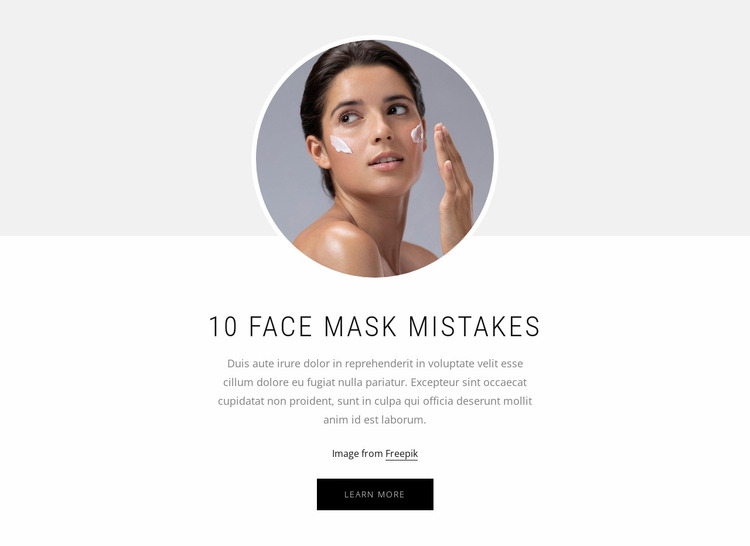 10 Face mask mistakes Website Mockup