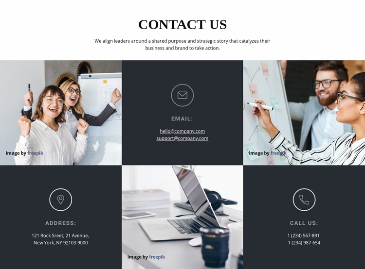 Email address, phone, and location Website Template