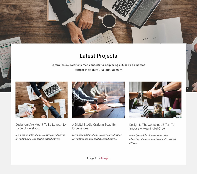 Latest consulting projects Web Page Designer