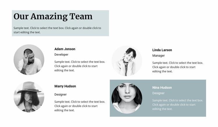 Four team members Html Code Example