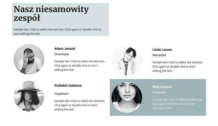 Czterech członków zespołu Szablon witryny sieci Web