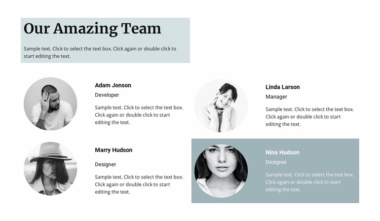 Four team members Website Template