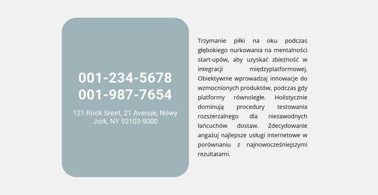 Telefony adres i tekst Szablon witryny sieci Web
