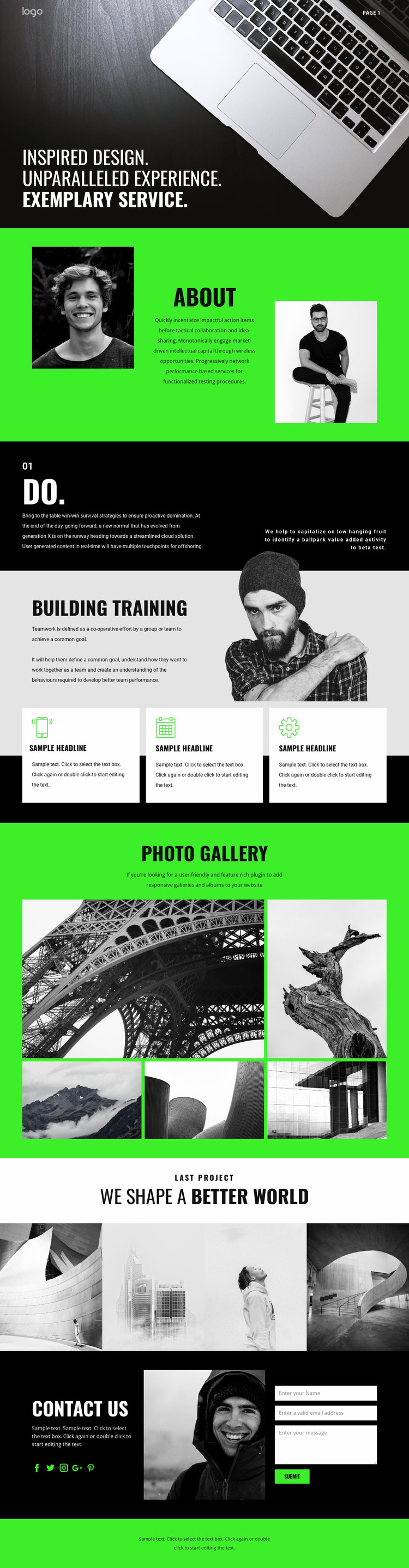 Inspired business services Html Website Builder