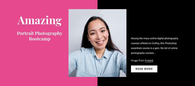 Portrait photography courses Website Template