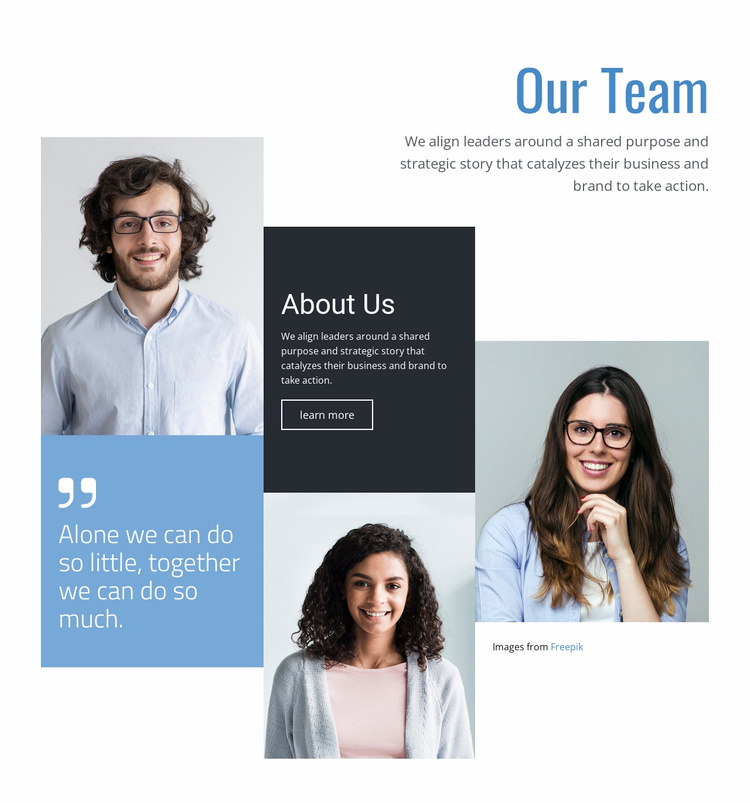About our team Landing Page