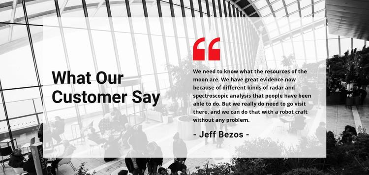 Customer say Homepage Design