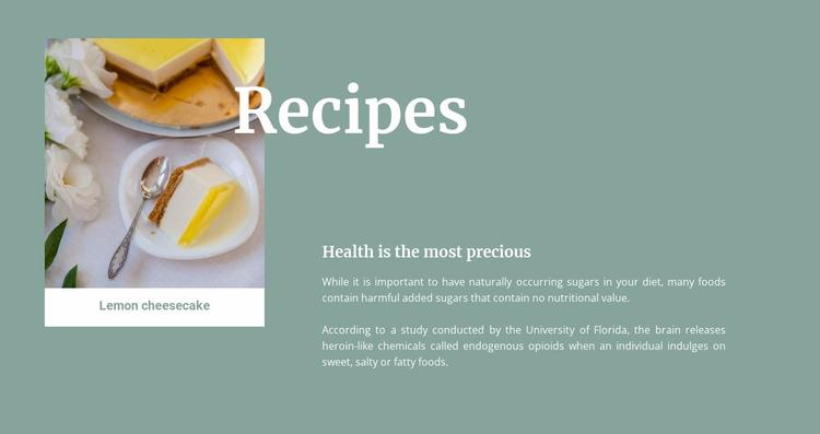 Lemon cheesecake Website Mockup