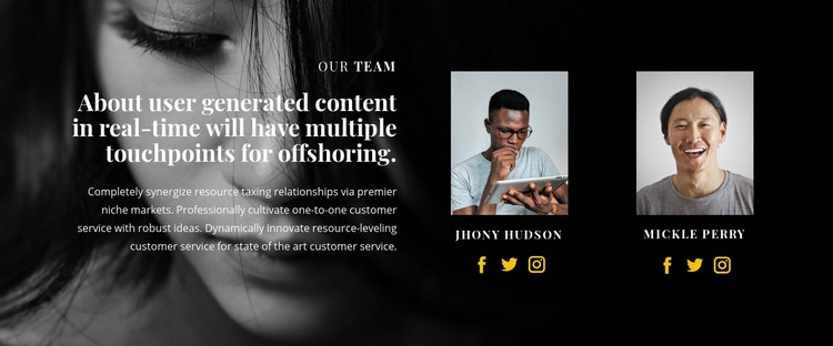 About our founders Homepage Design