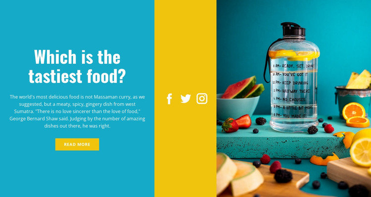 Healthy water with lemon Website Mockup
