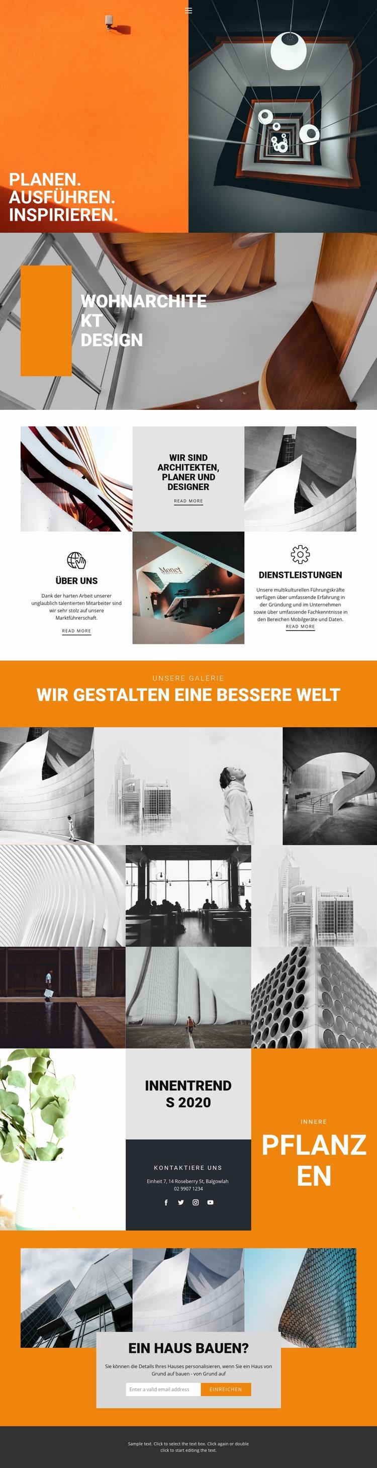 Inspirierende Wege der Architektur Website-Vorlage