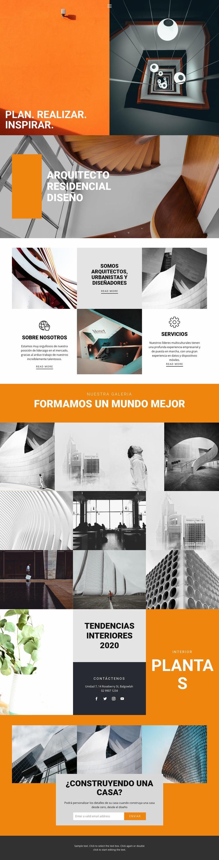 Formas inspiradoras de arquitectura Plantilla de sitio web