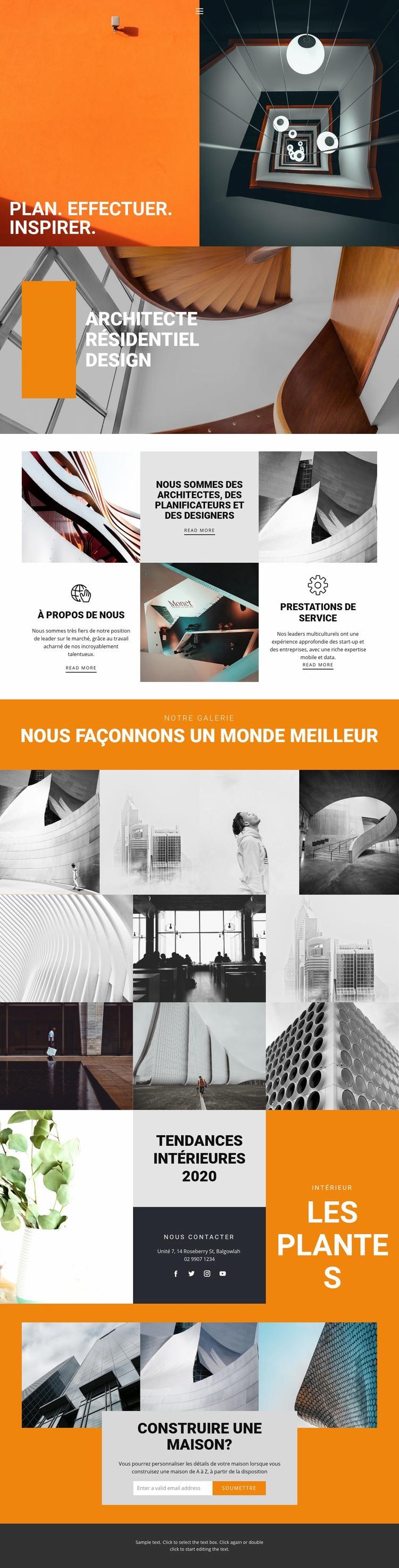 Architecture inspirante Modèle de site Web