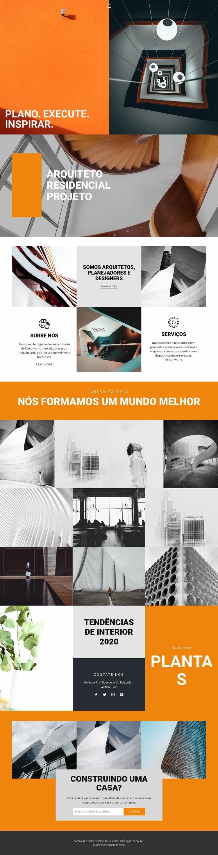 Formas inspiradoras de arquitetura Modelo de site