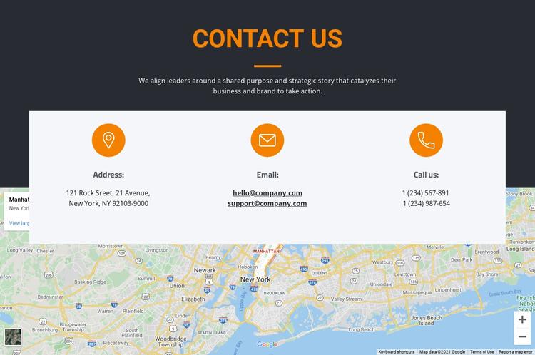 Address and email Website Builder Software