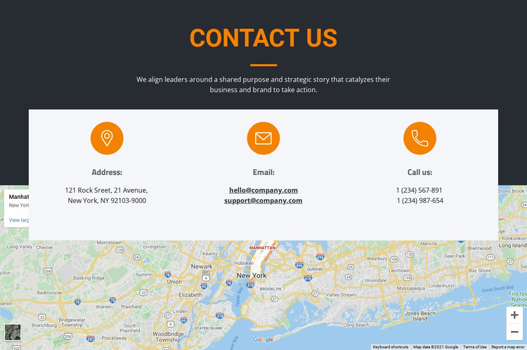 Address and email Landing Page